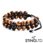 Tigers Eye Double Beaded Macrame Bracelet