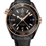 OMEGA SEAMASTER PLANET OCEAN 600M GMT BLACK DIAL LEATHER STRAP