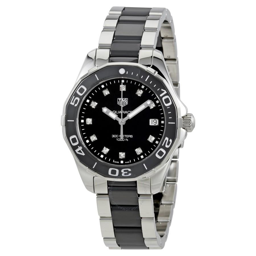 08e826af42c Tag Heuer Aquaracer Lady 300M 35MM Black Ceramic   Steel Diamond ...